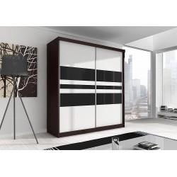 Šatní skříň Multi 1 (Dub Cambridge + Bílá + Černé sklo ) |183|