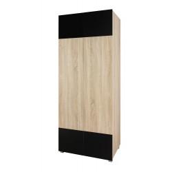 Šatní skříň Gordia G SZ2D (Dub Sonoma + Černá Lesk)