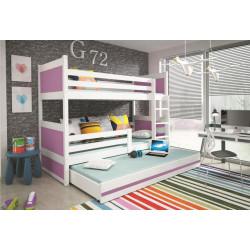 Patrová postel RICO pro 3 osoby včetně matrací (Bílá + Fialová)