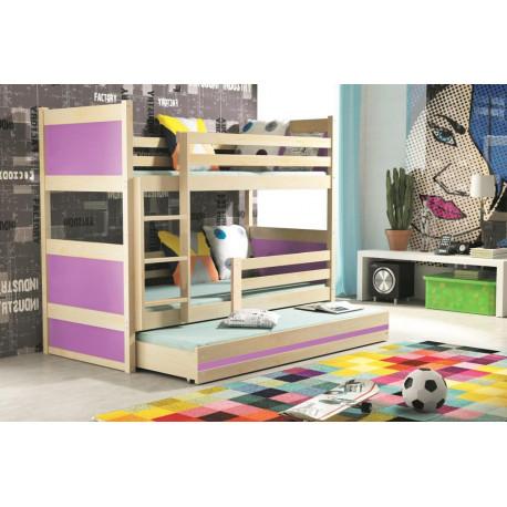 Patrová postel RICO pro 3 osoby (Borovice + Fialová)