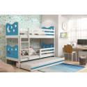 Patrová postel MIKO pro 3 osoby včetně matrací (Bílá + Modrá)