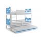 Patrová postel MIKO pro 3 osoby včetně matrací (Bílá)