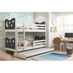 Patrová postel MIKO pro 3 osoby včetně matrací (Bílá + Grafit)