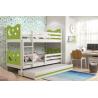 Patrová postel MIKO pro 3 osoby včetně matrací (Bílá + Zelená)