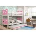 Patrová postel MIKO pro 3 osoby včetně matrací (Bílá + Růžová)