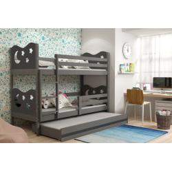 Patrová postel MIKO pro 3 osoby včetně matrací (Grafit)