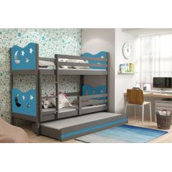 Patrová postel MIKO pro 3 osoby včetně matrací (Grafit + Modrá)