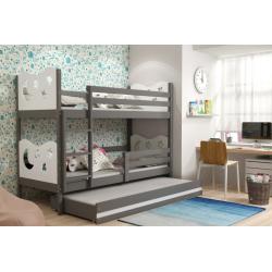 Patrová postel MIKO pro 3 osoby včetně matrací (Grafit + Bílá)