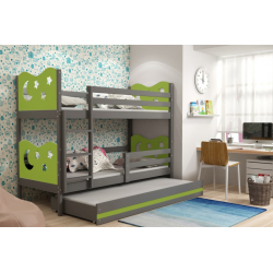 Patrová postel MIKO pro 3 osoby včetně matrací (Grafit + Zelená)