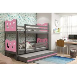 Patrová postel MIKO pro 3 osoby včetně matrací (Grafit + Růžová)