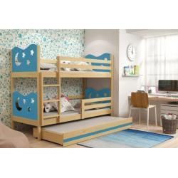Patrová postel MIKO pro 3 osoby včetně matrací (Borovice + Modrá)