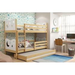 Patrová postel MIKO pro 3 osoby včetně matrací (Borovice + Bílá)