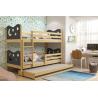 Patrová postel MIKO pro 3 osoby včetně matrací (Borovice + Grafit)