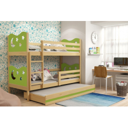 Patrová postel MIKO pro 3 osoby včetně matrací (Borovice + Zelená)