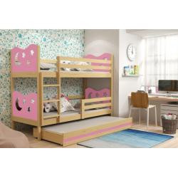 Patrová postel MIKO pro 3 osoby včetně matrací (Borovice + Růžová)