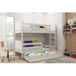 Patrová postel TAMI pro 3 osoby včetně matrací (Bílá)