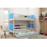 Patrová postel TAMI pro 3 osoby včetně matrací (Bílá + Modrá)