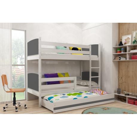 Patrová postel TAMI pro 3 osoby včetně matrací (Bílá + Grafit)