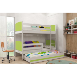 Patrová postel TAMI pro 3 osoby včetně matrací (Bílá + Zelená)