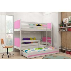 Patrová postel TAMI pro 3 osoby včetně matrací (Bílá + Růžová)