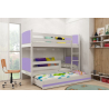 Patrová postel TAMI pro 3 osoby včetně matrací (Bílá + Fialová)