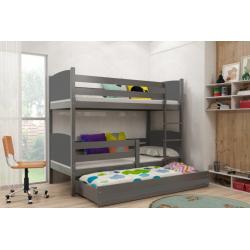 Patrová postel TAMI pro 3 osoby včetně matrací (Grafit)