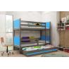 Patrová postel TAMI pro 3 osoby včetně matrací (Grafit + Modrá)