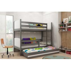 Patrová postel TAMI pro 3 osoby včetně matrací (Grafit + Bílá)