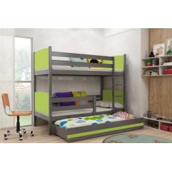 Patrová postel TAMI pro 3 osoby včetně matrací (Grafit + Zelená)
