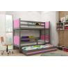 Patrová postel TAMI pro 3 osoby včetně matrací (Grafit + Růžová)