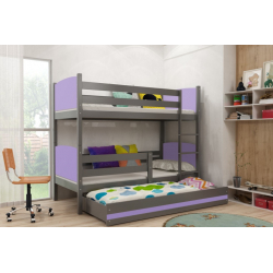 Patrová postel TAMI pro 3 osoby včetně matrací (Grafit + Fialová)