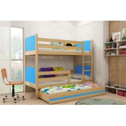 Patrová postel TAMI pro 3 osoby včetně matrací (Borovice + Modrá)