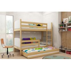 Patrová postel TAMI pro 3 osoby včetně matrací (Borovice + Bílá)