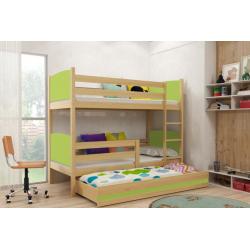 Patrová postel TAMI pro 3 osoby včetně matrací (Borovice + Zelená)