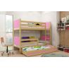 Patrová postel TAMI pro 3 osoby včetně matrací (Borovice + Růžová)