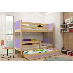 Patrová postel TAMI pro 3 osoby včetně matrací (Borovice + Fialová)