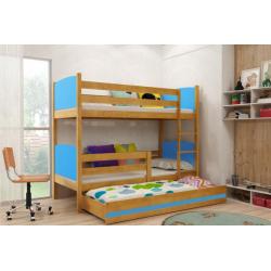 Patrová postel TAMI pro 3 osoby včetně matrací (Olše + Modrá)