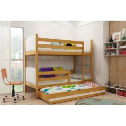 Patrová postel TAMI pro 3 osoby včetně matrací (Olše + Bílá)