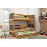 Patrová postel TAMI pro 3 osoby včetně matrací (Olše + Grafit)
