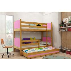 Patrová postel TAMI pro 3 osoby včetně matrací (Olše + Růžová)