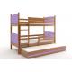 Patrová postel TAMI pro 3 osoby včetně matrací (Olše + Fialová)