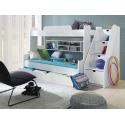 Patrová postel SEGAN pro 3 osoby včetně úložného prostoru (Bílá)