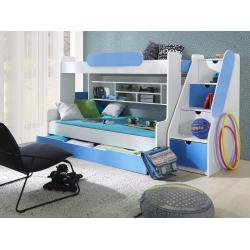 Patrová postel SEGAN pro 3 osoby včetně úložného prostoru (Modrá)
