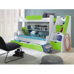 Patrová postel SEGAN pro 3 osoby včetně úložného prostoru (Zelená)