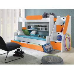Patrová postel SEGAN pro 3 osoby včetně úložného prostoru (Oranžová)