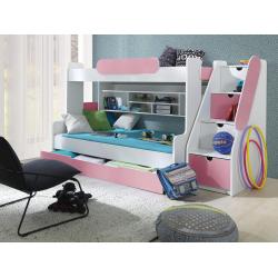 Patrová postel SEGAN pro 3 osoby včetně úložného prostoru (Růžová)