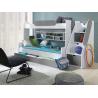 Patrová postel SEGAN pro 3 osoby včetně úložného prostoru (Šedá)