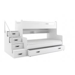 Patrová postel MAX 3 s úložným prostorem včetně matrací (Bílá)