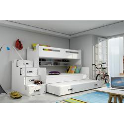 Patrová postel MAX 3 s přistýlkou včetně matrací (Bílá)