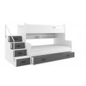 Patrová postel MAX 3 s úložným prostorem včetně matrací (Šedá)